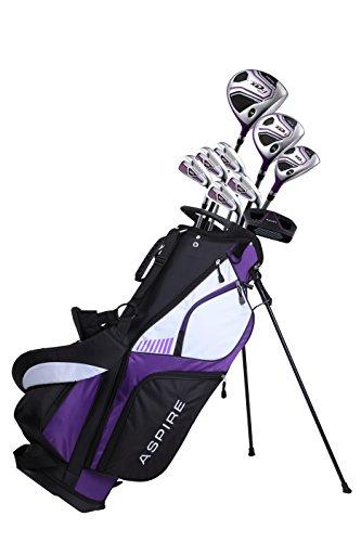 aspire XD1 Damen Golfschläger-Set für Rechtshänder, Titan-Treiber, S.S. Fairway, S.S. Hybrid, S.S. 6-PW Eisen, Putter, Standtasche, 3 H/C's Lila (rechte Hand)