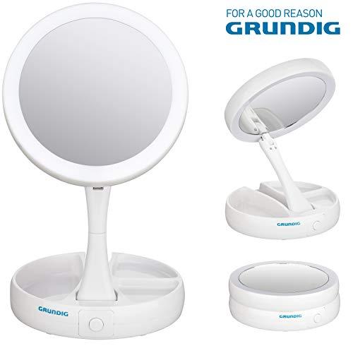 Grundig Faltbarer Kosmetikspiegel mit LED Beleuchtung, Kompakter Faltbarer Schminkspiegel mit 1-Fach/10-Fach Vergrößerung, USB Kabel