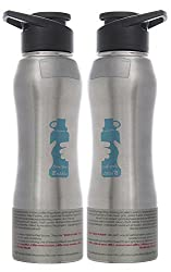 Carry Your Elegant Stainless Steel Sipper Water Bottle, 2-Piece, 750 ml Each, Silver