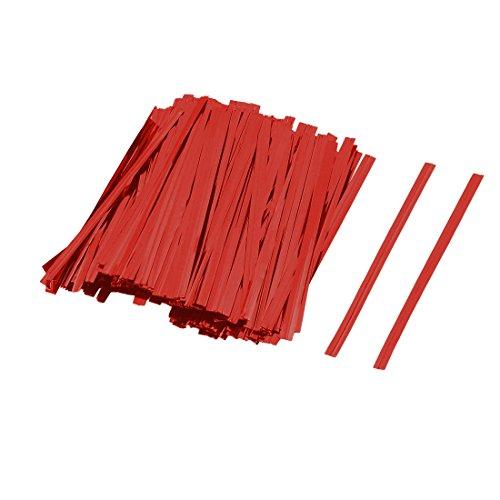 sourcingmap 300pcs Geschenk DIY Kunst Keks Beutel Lollipop Verpackung Dichtung Krawatten Rot DE