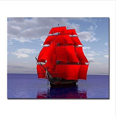 WAZHCY Rahmen Abstraktes Ölgemälde Durch Zahlen DIY Digit Kits Färbung Rot Segelboot Meer Landschaft Auf Leinwand Home Decor Wandbilder 40X50 cm,Mit Holzrahmen,B
