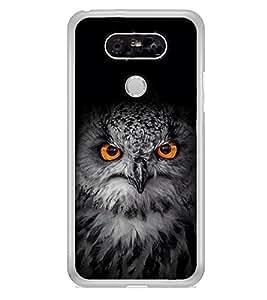 Owl with Orange Eye 2D Hard Polycarbonate Designer Back Case Cover for LG G5 :: LG G5 Dual H860N :: LG G5 Speed H858 H850 VS987 H820 LS992 H830 US992