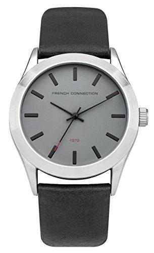 French Connection PU SFC109B - Reloj de cuarzo para hombres con esfera gris y correa negra de cuero