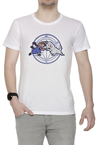 Vollmetall Verschmelzung Ha! Herren T-Shirt Rundhals Weiß Kurzarm Größe M Men's White Medium Size M Chimera Medium Video