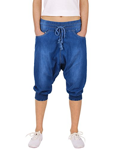 Fraternel pantaloni donna sarouel harem blu taglia: IT 42 - M
