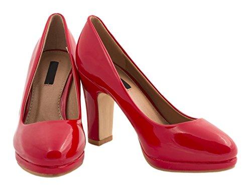 Elara , chaussures compensées femme Rouge - Rouge
