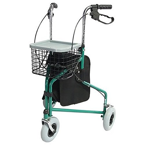 Gehwagen für Senioren mit 3 Rädern | Zusammenfaltbarer leichtgewichter Rollator | Höhenverstellbar | Inkl. Korb und Tragetasche | Maximale Belastbarkeit 100 kg | Caleta Modell | Mobiclinic