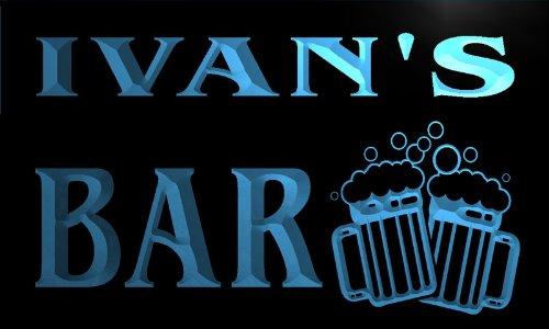 w017663-b IVAN'S Nom Accueil Bar Pub Beer Mugs Cheers Neon Sign Biere Enseigne Lumineuse