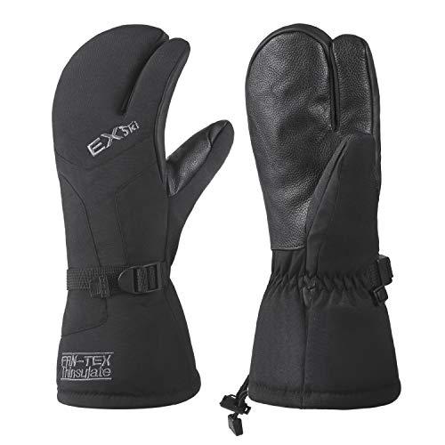 EXski Winter Handschuhe Warm Wasserdicht Skihandschuhe 3 Finger Fäustlinge Herren Damen Snowboard Schneemobil