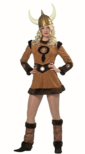 Wikingerinkleid in braun für Damen | Größe 38 | 1-teiliges Wikingerin-Kostüm mit Beinstulpen | Wikingerin-Faschingskostüm für Frauen | Wikingerinkostüm für (Kostüm Ideen Frauen)