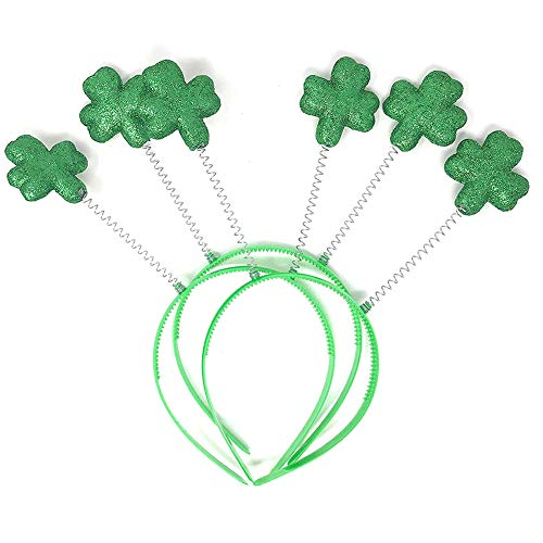 trick es Day, St Patrick Day Green Shamrock Head Bopper Headband Party Costume Hat Headwear ()