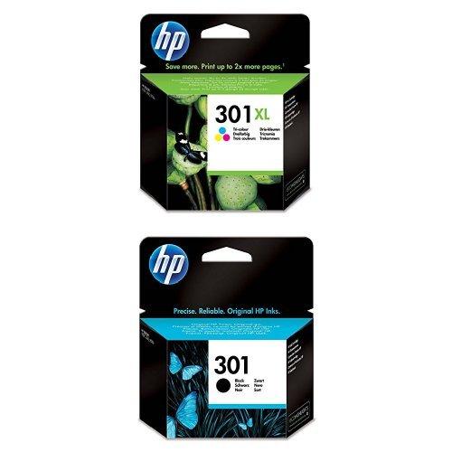 HP 301XL Farbe Original Druckerpatrone mit hoher Reichweite für HP Deskjet, HP ENVY, HP Photosmart + HP 301 Schwarz Original Druckerpatrone für HP Deskjet, HP ENVY, HP Photosmart Hp Drucker 4630