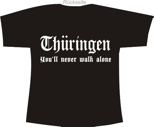 Thüringen - You'll never walk alone; Polo T-Shirt schwarz