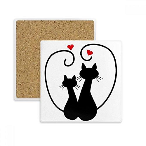 DIYthinker Katzen-Liebhaber Sihouette Tier Valentine Platz Coaster-Schalen-Becher-Halter Absorbent Stein für Getränke 2ST Geschenk Mehrfarbig -