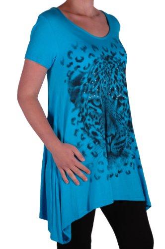 EyeCatch Plus - T shirt manches courtes drapé tigre brillant - Femme - Tailles UK14/28 Turquoise