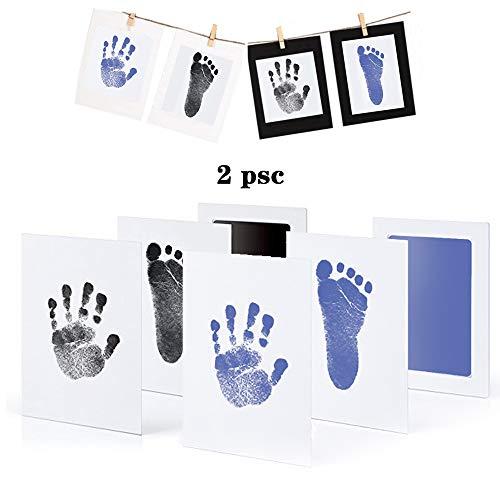 -Abdruck Set, Stempelkissen, Druckkarten, mit Papier-Bilderrahmen Set, Ungiftig Inkless - Babyhaut kommt nicht mit Farbe in Berührung, Taufe Geschenk für Neugeborene ()