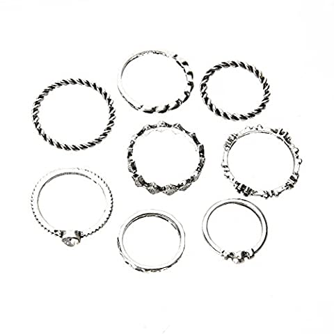 Demiawaking 8Pcs Vintage Silver-plated Knuckle Rings Midi Rings Knuckle Finger Rings Set Punk Rings for Women