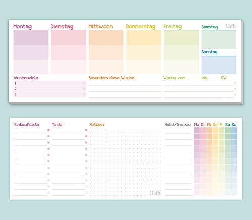 Wochenplaner Block ohne festes Datum [Rainbow] Tischkalender quer inkl. Terminplaner, Wochenziele, Habit-Tracker, To-Do-Liste, Einkaufsliste & Platz für Notizen | klimaneutral & nachhaltig