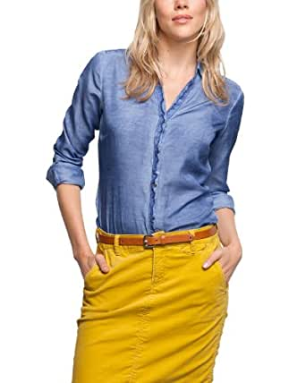 Comma CI Damen Bluse Regular Fit 88.309.11.8445 BLUSE LANGARM, Gr. 36 (S), Blau (5625 Bijou blue)