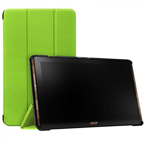 eFabrik Schutzhülle für Acer Iconia Tab 10 A3-A40 Case 10.1 Zoll Tasche Cover Schutztasche Hülle Aufstell-Funktion Kunstleder grün