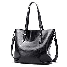 Czemo Damen Handtasche Leder Schultertasche Große Shopper Tasche Henkeltaschen Weich Damentasche,Schwarz