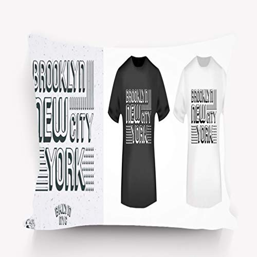 (rongxincailiaoke Kissenbezüge Pillow case Print Design Brooklyn New York City Vintage Stamp Mockup Printing Badge Applique Labels Jeans Casual 18 * 18 inch)