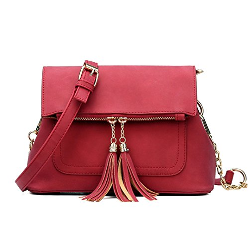 JOTHIN Damen Leder Tasche Vintage Handtasche Elegent Schultertasche mit Quaste Anhänger Rot