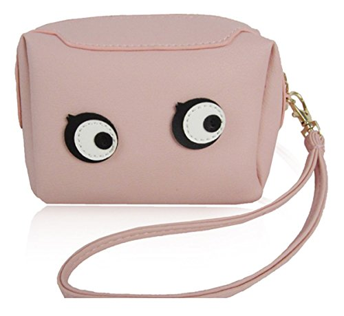 Kukubird Moneta Versatile Variazioni Alimento Animale Carina Emoji Bus Tv Cassette Colorate Portafoglio Portamonete Donna Clutch Eyes Pink