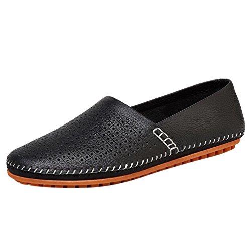 Baymate Homme Confortables PU Loafers Respirant Été Slip-On Chaussures Bateau Noir