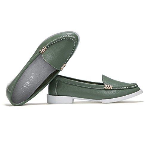 Damen Slipper Spitz Zehen Lederschuhe Slip On Niedrige Flache Freizeitschuhe Metallic Nähte Süße Elegant Schuhe Grün