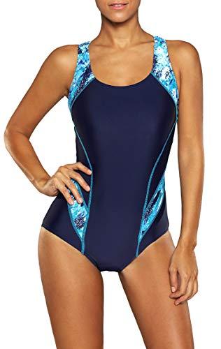 BeautyIn Damen Einteiler Badeanzug Ringerrücken Farbblock Elastische Schwimmanzug, Navy/Blau, S (Einteiler Badeanzug Athletic)