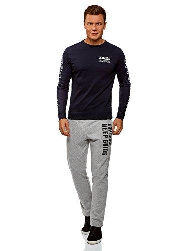oodji Ultra Herren Jersey-Hose mit Bindebändern Grau (2329P)