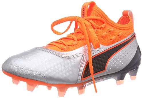 Puma Unisex-Kinder ONE 1 LTH FG/AG Fußballschuhe, Silber Silver-Shocking Orange Black 01, 37 EU