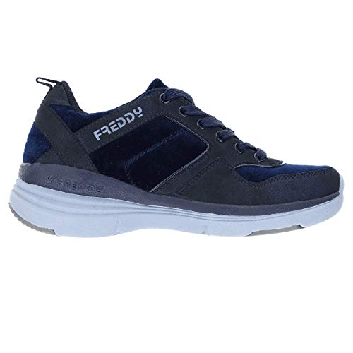 Sneakers con Tacco Interno di 6 cm in Nabuk - Blu Navy - 37