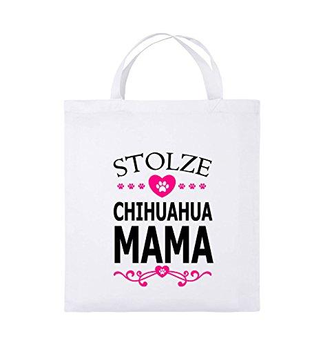 Comedy Bags - Stolze Chihuahua Mama - HERZ - Jutebeutel - kurze Henkel - 38x42cm - Farbe: Schwarz / Weiss-Neongrün Weiss / Schwarz-Pink