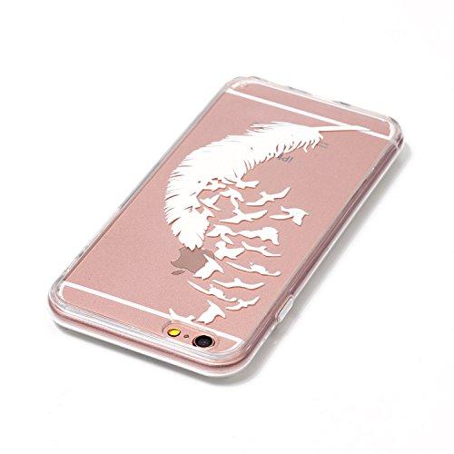 iPhone 6 Hülle,iPhone 6S Silikon Case,iPhone 6 Cover - Felfy Ultradünne Weicher Gel Flexible Soft TPU Silikon Transparent Hülle Schutzhülle Hülle Color Muster Farbmalerei Beschützer Hülle Handy Durchs Feder Hülle