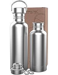 Bottiglie d'acqua in acciaio inox,borraccia metallo 500ml 750ml 1 litro| Perfetto per la corsa, fitness, yoga, all'aperto e campeggio, auto o in viaggio con garanzia di soddisfazione al 100%