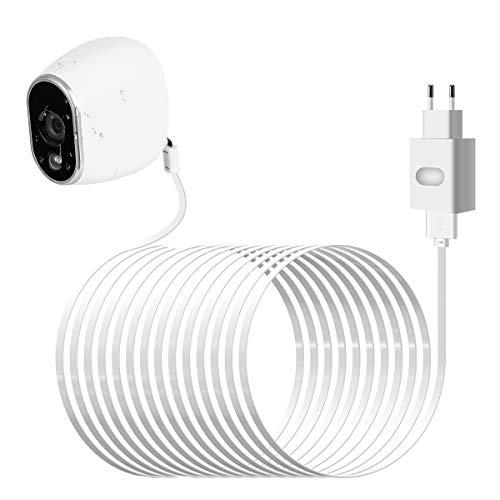 Wetterfest Netzteil Adapter und Kabel für Arlo Sicherheitskamera Smart Home Zubehör (CR123A Ersetzen,Weiß)