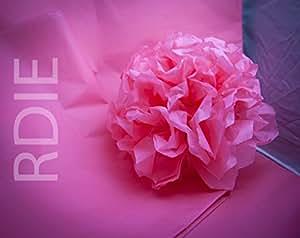 24 feuilles de papier de soie Rose Vif, 50x75cm, 18 grs