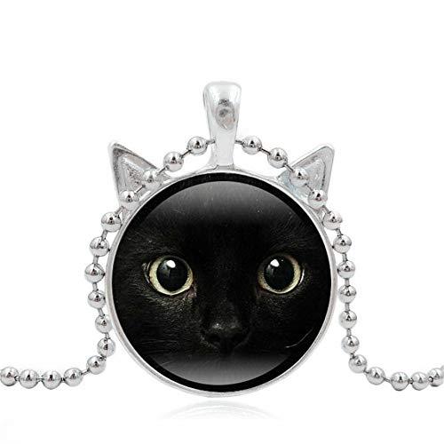 änger Halloween Cute Malerei Schwarz Tier Halskette Anhänger Pet Lover Glas Grobe Mädchen Geschenk Pullover Kette Zubehör Anhänger, C ()