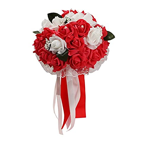 Vlovelife Mix White & Red Rose Wedding Bouquet Bridal Bridesmaid Artificial Foam Rose Flower Handmade Posy Rhinestone Pearl Lace Satin Ribbon Decor