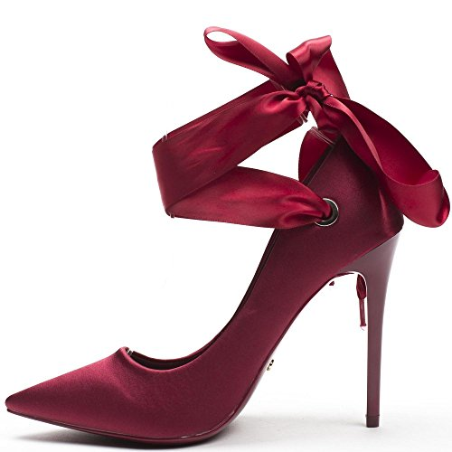 Ideal Shoes - Escarpins en satin avec lacets satinés Jeanne Bordeaux