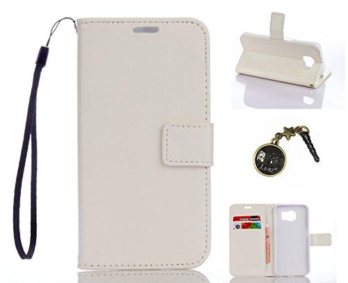 Preisvergleich Produktbild für Smartphone Samsung Galaxy S6 Hülle,Echt Leder Tasche für Samsung Galaxy S6 Flip Cover Handyhülle Bookstyle mit Magnet Kartenfächer Standfunktion + Staubstecker (1DD)