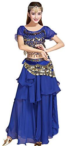 Damen Bauchtanz Kostüm Indischen Tanzkleidung 5 Teilig Set Festliche Elegant Indian Classic Kleidung Dance Costumes Belly Dance Costumes Kleidung Oberteil/Rock/Hüfttuch/Headwear/Halskette Kleidung