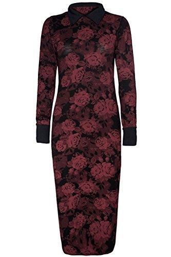 Damen Maxikleid mit Blumen und Rosen Full Long Sleeve Kontrast Kragen Kleid Plus Size