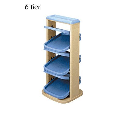 6/8/10 Tier Schmales Schuhregal für Kinder, Kunststoff-Aufbewahrungsständer für Stiefel Balkon Eingang Ecke Eingang, stapelbar Regal (Color : Blue, Size : 10 Tier) -