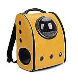 ALXDR Cat Backpack Pet Carrier Astronaut Cápsula Burbuja Ventana Faux Leather Cat Carrier para Gatos Pequeños y Pequeños Animales,Yellow