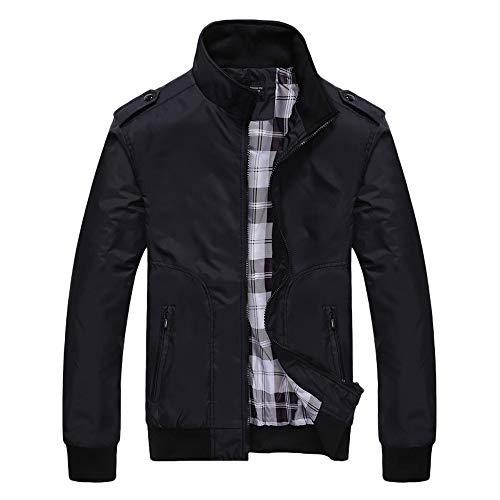 (TWBB Herren PU Leder Jacke mit Fleecefutter Slim Fit Vintage Klassisch Blusen Jacket Lederjacke Windbreaker Mit Reißverschluss)