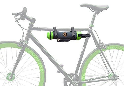 Weinhalter fürs Fahrrad, Wein-Halterung für Ausflug mit Fahrrad, Weinflaschenhalter fürs Fahrrad, praktische Halterung für Wein am Fahrrad statt Weinkiste oder Fahrradkorb (grün)