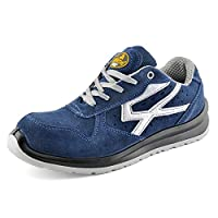 SAFETOE Lightweight Safety Trainers - 7328 Breathable Leather Safety Shoes with Composite Steel Toe Cap, Comfort Non Metal Wide Fit Work Trainers Boots for Man & Women Size Blue